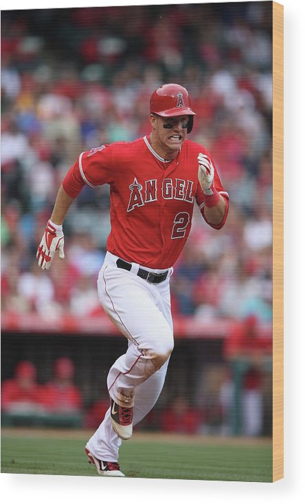 People Wood Print featuring the photograph Houston Astros V Los Angeles Angels Of by Paul Spinelli