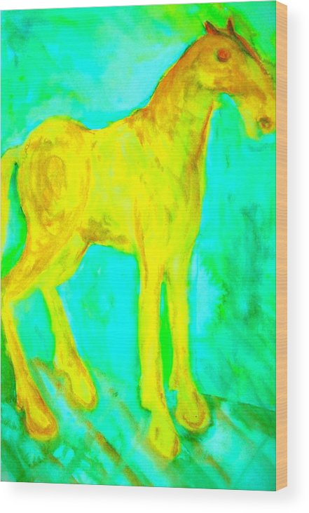 Horse Wood Print featuring the painting I Will Show You Everything But Will You See It by Hilde Widerberg