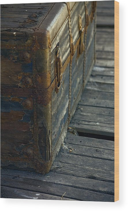 Vintage Trunk Wood Print featuring the photograph If This Old Trunk Could Talk by Bonnie Bruno