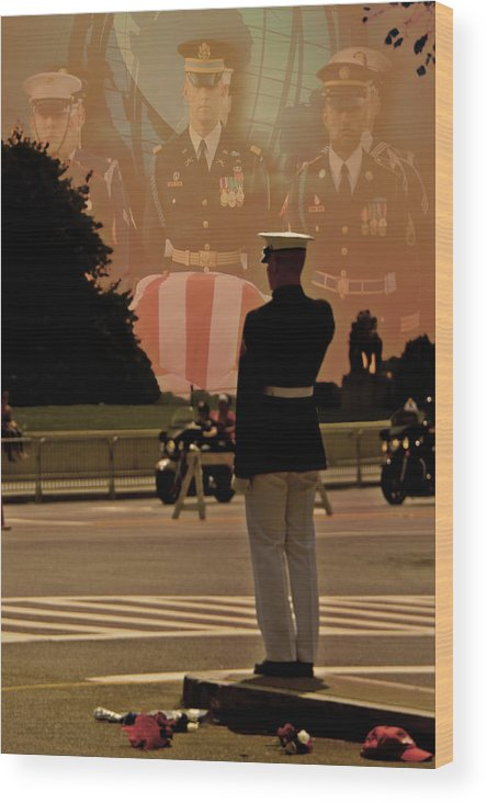 The Saluting Marine Wood Print featuring the photograph In Honor Of Our Fallen Heroes by Tom Gari Gallery-Three-Photography