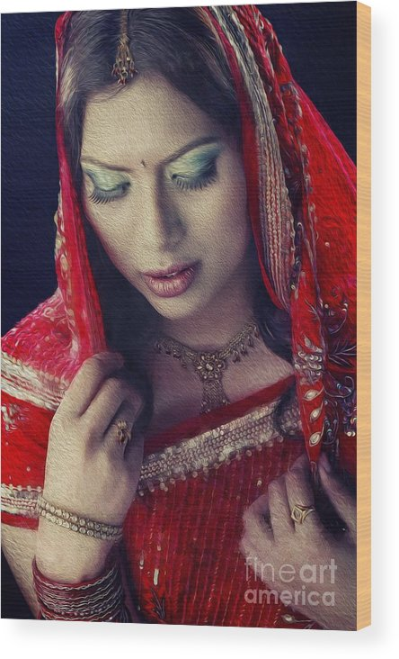 Indian Woman Wearing Traditional Costume Wood Print featuring the painting Indian Beauty by Jojie Alcantara