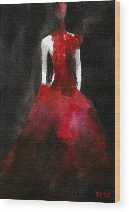 Fashion Wood Print featuring the painting Inspired By Alexander Mcqueen Fashion Illustration Art Print by Beverly Brown