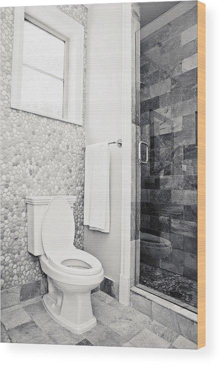 Interior Of A Bathroom Wood Print By Glow Decor