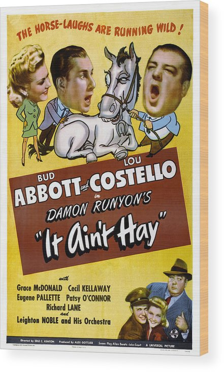 1940s Movies Wood Print featuring the photograph It Aint Hay, Top L-r Patsy Oconnor, Bud by Everett