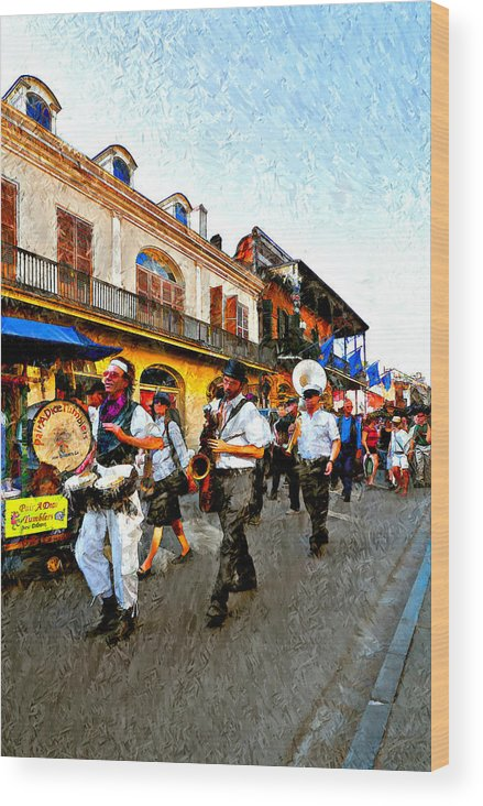 French Quarter Wood Print featuring the photograph Jazz Funeral II by Steve Harrington