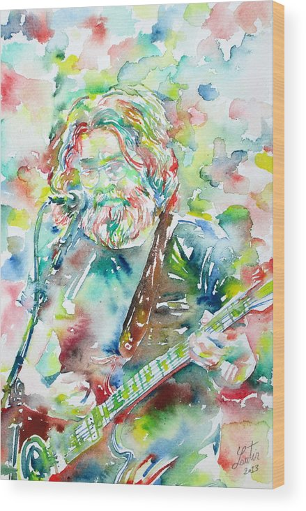 Jerry Wood Print featuring the painting Jerry Garcia Playing The Guitar Watercolor Portrait.2 by Fabrizio Cassetta