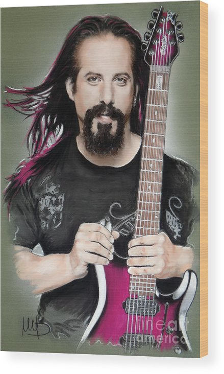 John Petrucci Wood Print featuring the mixed media John Petrucci by Melanie D
