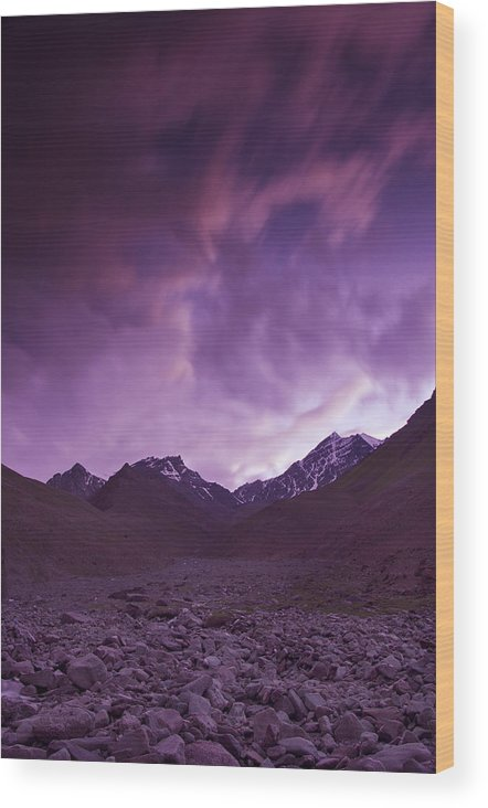 Mountains Wood Print featuring the photograph Kangri Twilight by Aaron Bedell