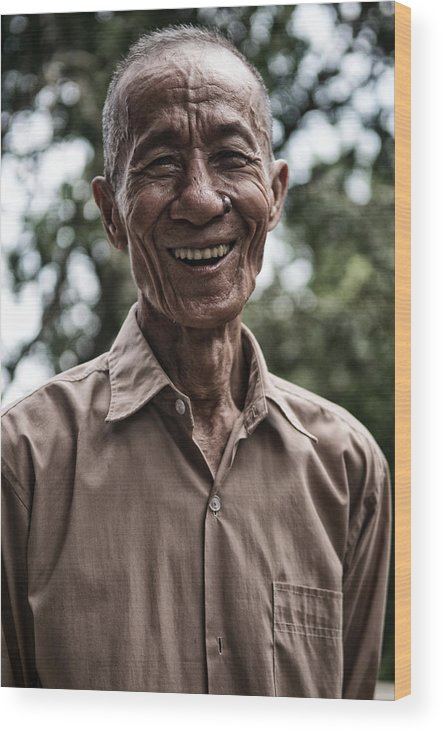 Khmer Wood Print featuring the photograph Khmer Peasant by Thierry CHRIN