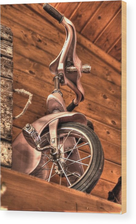 Wood Print featuring the photograph Kids Pedal Trike On Shelf by Dan Quam