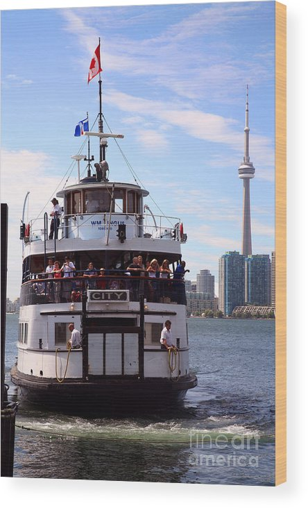 One York Quay Wood Print featuring the photograph Lake Onatario Ferry Toronto Ontario by Bill Cobb