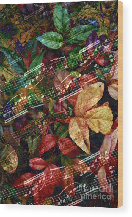 Music Wood Print featuring the digital art Leaf Motif by Lon Chaffin