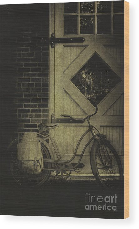 Vintage; Antique; Old; Bike; Bicycle; Lean; Leaning; Barn; Transport; Transportation; Door; Window; Brick; Wood; Wooden; Paint Wood Print featuring the photograph Leaning by Margie Hurwich
