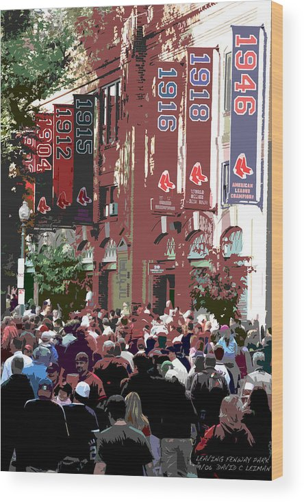 Fenway Park Wood Print featuring the photograph Leaving Fenway Park by David Leiman