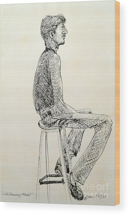 Ink Wood Print featuring the drawing Life Drawing Model by Diane Phelps