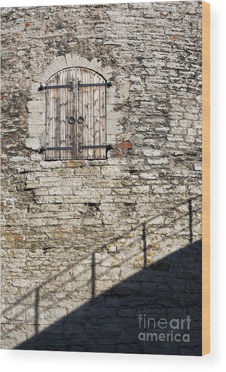 Estonia Wood Print featuring the photograph Limestone Wall With Door And Shadow by Jaak Nilson