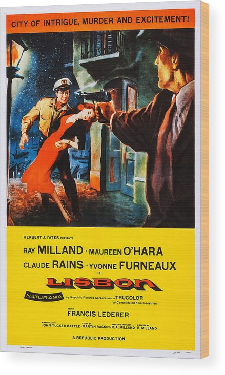 1950s Poster Art Wood Print featuring the photograph Lisbon, Us Poster Art, Ray Milland by Everett