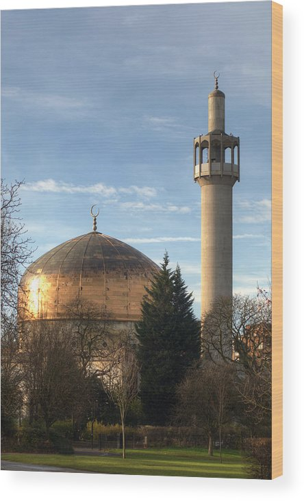 London Central Mosque Wood Print featuring the photograph London Central Mosque by Chris Day