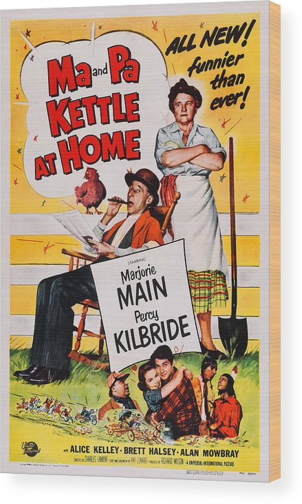 1950s Poster Art Wood Print featuring the photograph Ma And Pa Kettle At Home, Us Poster by Everett