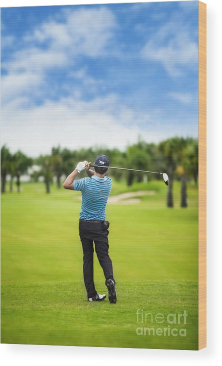 Golfing Wood Print featuring the photograph Male Golf Player by Anek Suwannaphoom