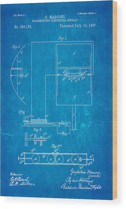 Electricity Wood Print featuring the photograph Marconi Radio Patent Art 1897 Blueprint by Ian Monk