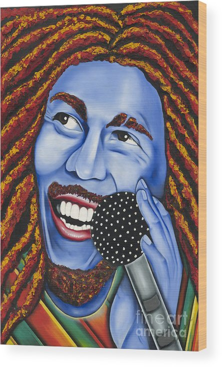 Portrait Wood Print featuring the painting Marley by Nannette Harris