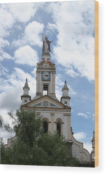 Church Wood Print featuring the photograph Matriz Cathedral In Cotacachi by Robert Hamm