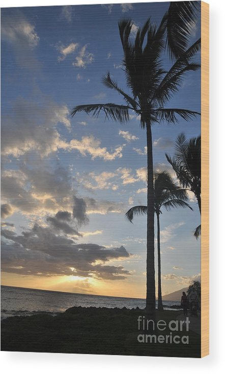 Maui Wood Print featuring the photograph Maui Sunset by Bill Long