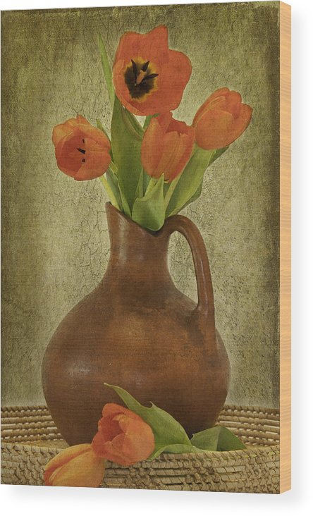 Poppies Wood Print featuring the photograph Mexican Water Jug With Poppies by Lynne Fried
