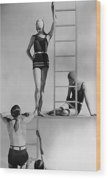 Fashion Wood Print featuring the photograph Models Wearing Bathing Suits by George Hoyningen-Huene