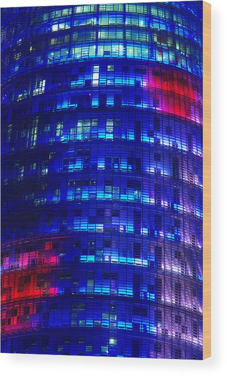 Agbar Wood Print featuring the photograph Modern Building At Night by Ioan Panaite