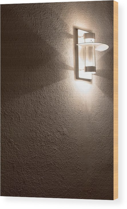 Interior Wood Print featuring the photograph Modern Lamp On Concrete Wall by Frank Gaertner