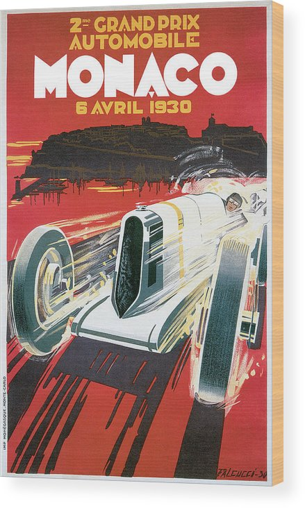 Monaco Grand Prix Vintage Poster Wood Print