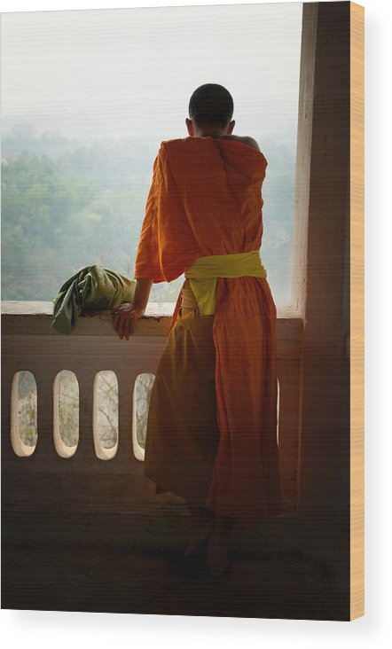 Monk Wood Print featuring the photograph Monk In Luang Prabang by Thierry CHRIN