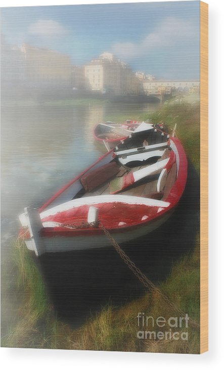 Mist Wood Print featuring the photograph Morning Mist On The Arno River Italy by Mike Nellums