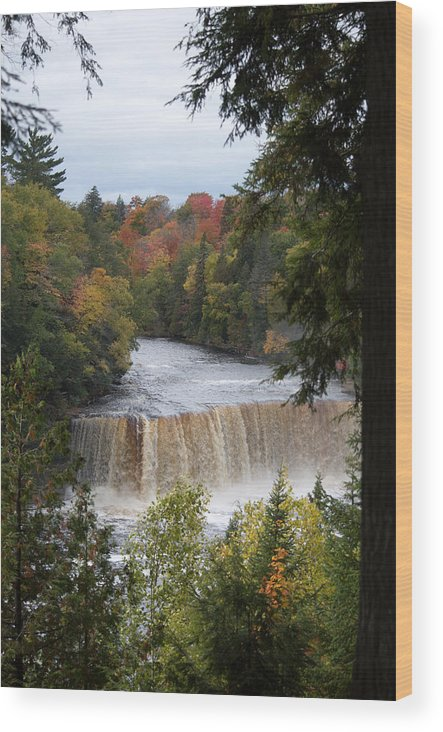 Upper Tahquamenon Falls Wood Print featuring the photograph Mother Nature's Canvas by Linda Kerkau