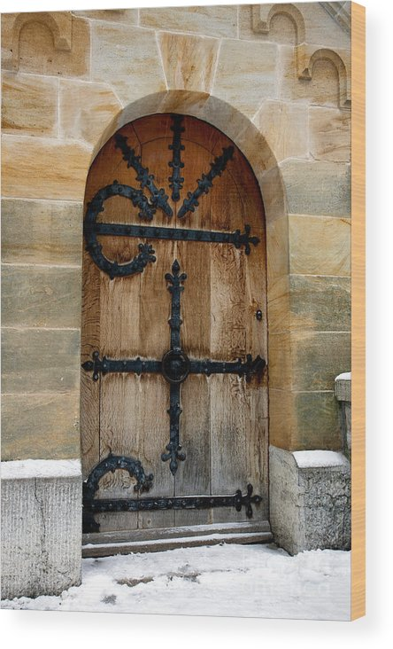 Wood Wooden Front Door Doors Doorway Heavy Strong Neuschwanstein Castle Schloss Closed Locked Tight Secure Security Arched Stone Snowy Snow Winter Wintry Fussen Allgau Bavaria Fairytale Germany German crazy King mad King King Ludwig Old Historic Europe European Wood Print featuring the photograph Neuschwanstein Doorway by Brian Jannsen