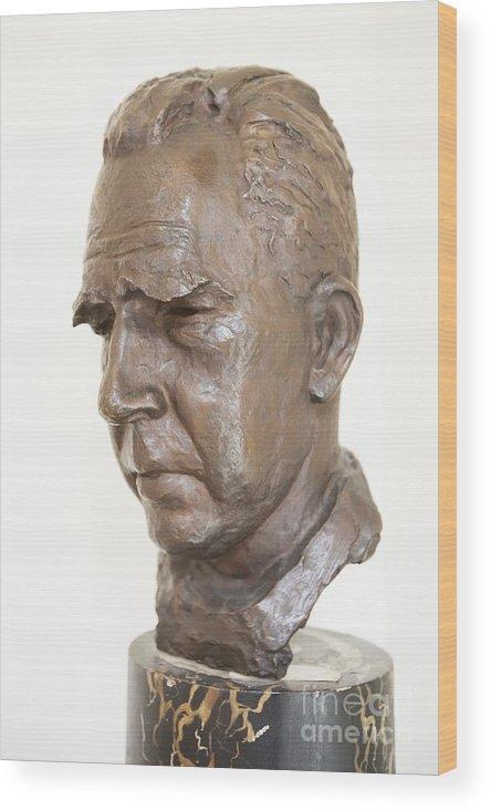 Niels Bohr Wood Print featuring the photograph Niels Bohr Sculpture by Adam Hart-davis