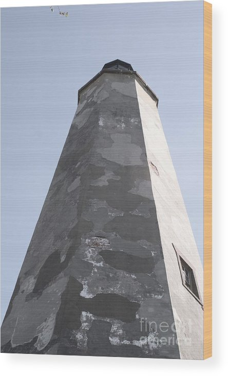 Lighthouse Wood Print featuring the photograph Old Baldy Lighthouse Nc by Nadine Rippelmeyer