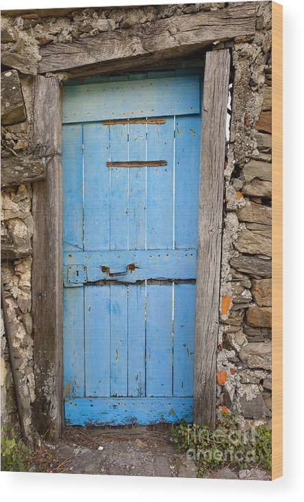 Blue Wood Print featuring the photograph Old Blue Door by Brian Jannsen