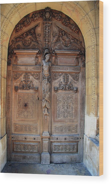 Door Wood Print featuring the photograph Old Carved Church Door by Christiane Schulze Art And Photography