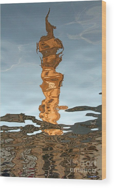 Reflexion Wood Print featuring the photograph Old Clock Tower Of The Post Office Building by Alain Michiels