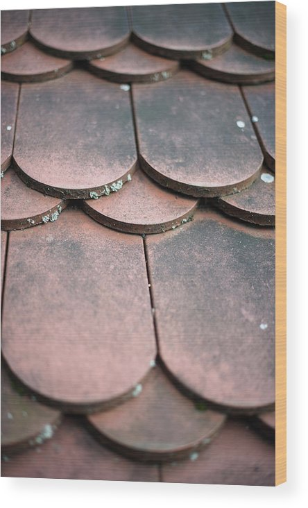 Material Wood Print featuring the photograph Old House Red Roof Tiles by Frank Gaertner