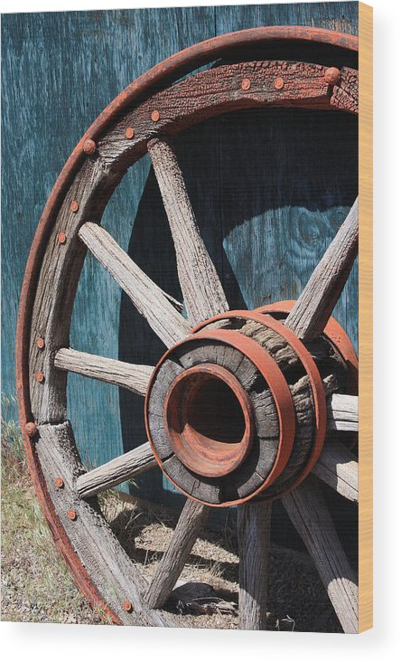 Wheel Wood Print featuring the photograph Old Wagon Wheel by Jennifer Muller