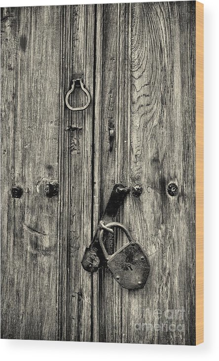 Abstract Wood Print featuring the photograph Old Weathered Door by Nicola Fiscarelli