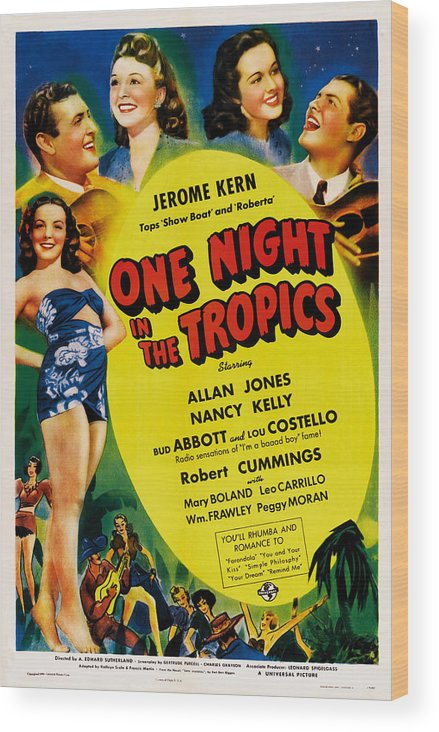 1940 Movies Wood Print featuring the photograph One Night In The Tropics, Us Poster by Everett