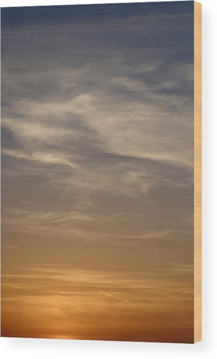 Sky Wood Print featuring the photograph Orange White Blue by Remco Zwinkels
