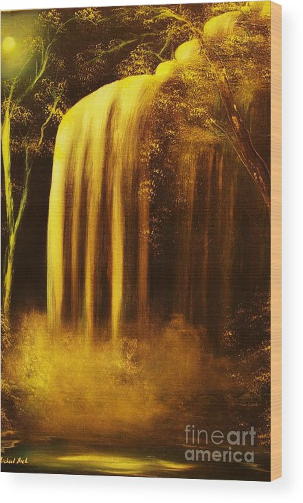 Waterfall Wood Print featuring the painting Moon Shadow Waterfalls- Original Sold - Buy Giclee Print Nr 30 Of Limited Edition Of 40 Prints  by Eddie Michael Beck