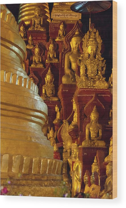 Asia Wood Print featuring the photograph Pagoda And Buddhist Statues by Keren Su