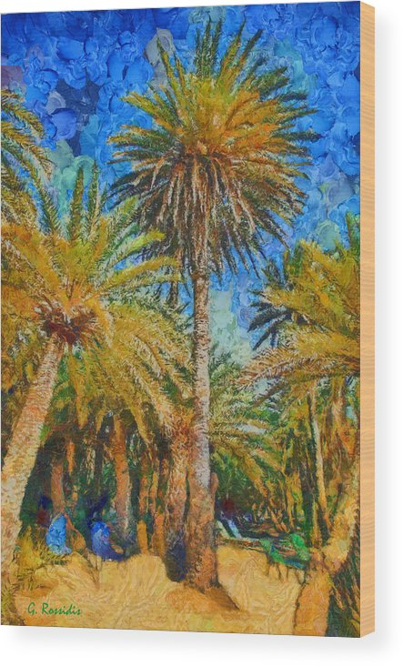 Rossidis Wood Print featuring the painting Palm Trees by George Rossidis
